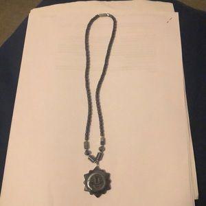 Gunmetal sun necklace